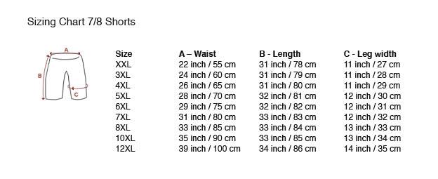 tamaño del gráfico 7/8 Shorts