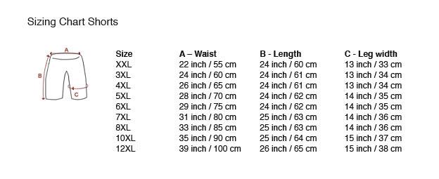 tamaño del gráfico Shorts