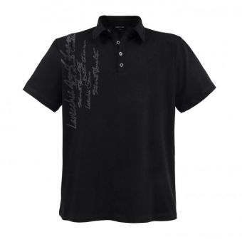 Lavecchia Fashion Polo en negro con estampado escrito