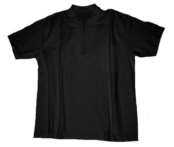 Polo Camiseta con bolsillo e con Zip negro